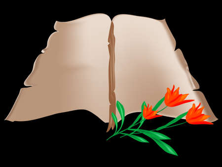 charred: Old book with red tulips Illustration