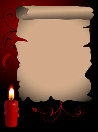 Parchment with the red candle Vector