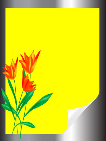 bended: Bended yellow paper with tulips Illustration