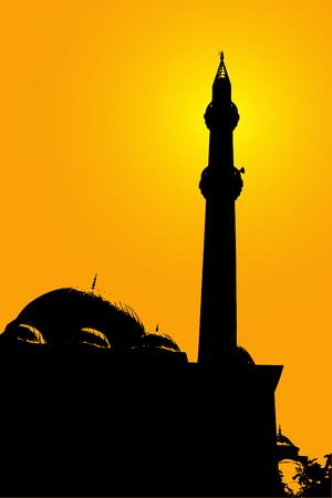prayer tower: Vector silhouette della moschea Vettoriali