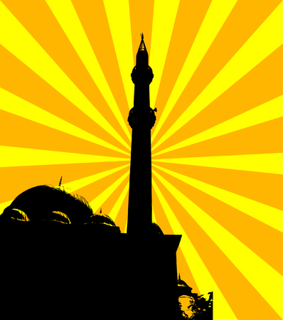 prayer tower: Vector silhouette of the mosque