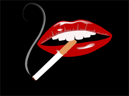 Beautiful red lips with cigarette