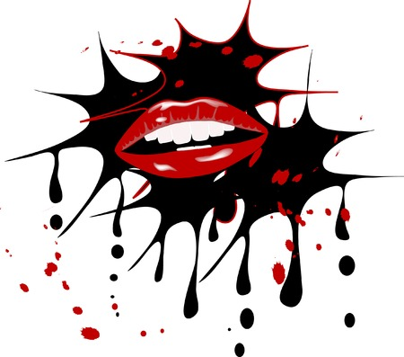 Beautiful red lips with blots Vector