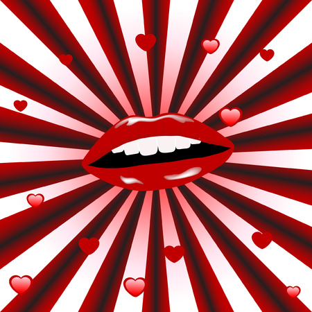 Beautiful red lips with sunburst Vector