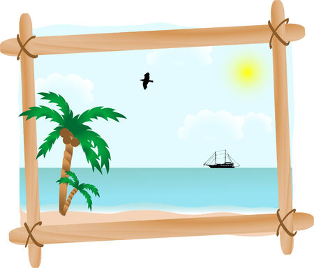 Summer seascape in wooden frame Stock Vector - 3086346