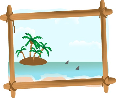 Summer seascape in wooden frame Stock Vector - 3086345