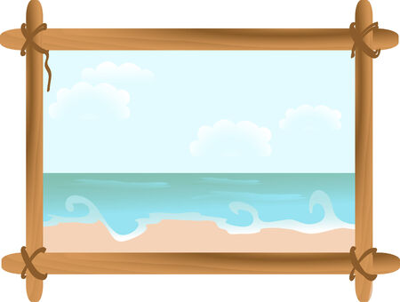 Summer seascape in wooden frame Vector