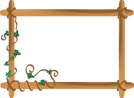 Vector wooden frame with ivy Vector