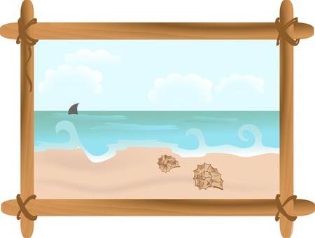 Seascape with shells in frame Vector