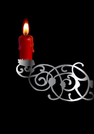 candleholder: Candlestick with red candle Illustration