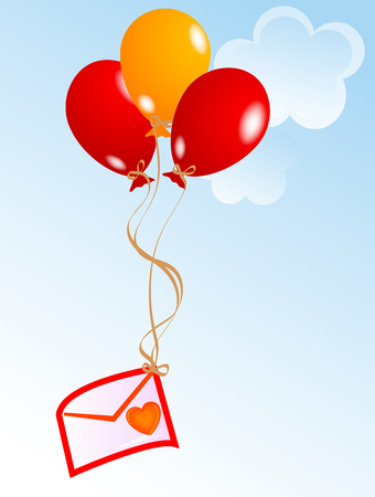 Love letter with balloons on the sky Vector