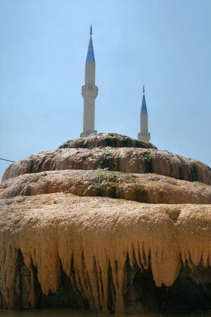 prayer tower: Hot spa spring in Turkey Stock Photo