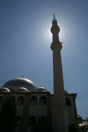 prayer tower: Beautiful mosque with one minaret