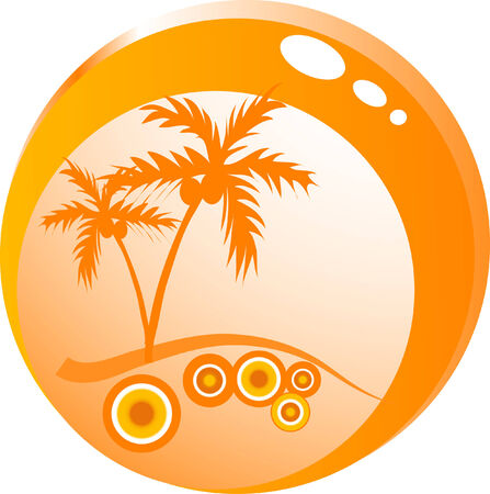 Glass bowl with palm treees Vector