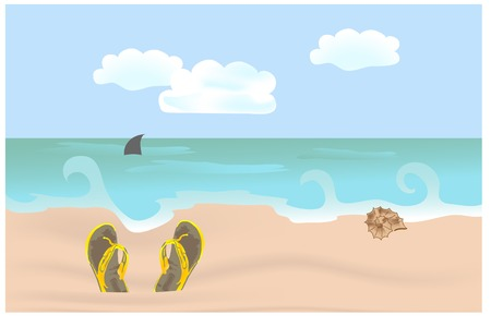 Yellow slippers on the beach Vector