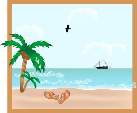 Red slippers on the beach Vector