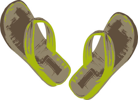 Vector illustration of green slippers Vector