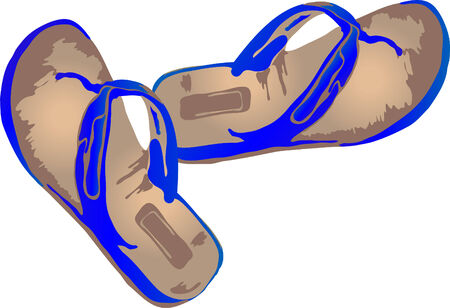 Vector illustration of blue slippers Stock Vector - 3243170