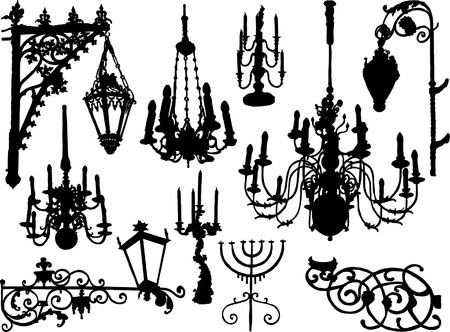 Vector baroque chandeliers and lamps Vector