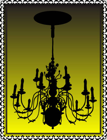 Chandelier in old black frame Vector