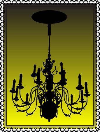 luminary: Chandelier in old black frame