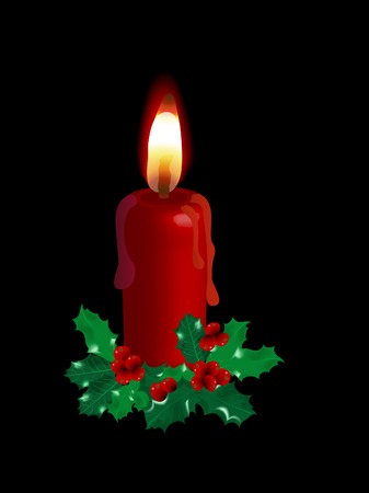 advent candles: Red candle and the holly