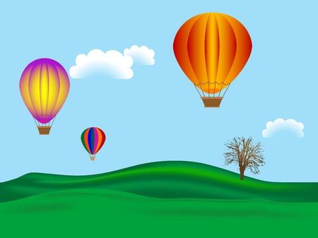 Los globos de aire caliente - ilustración vectorial