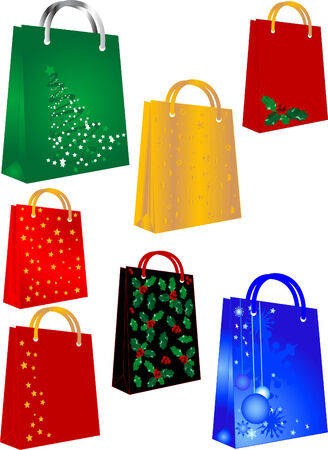 Shopping bags with christmas symbols Illustration