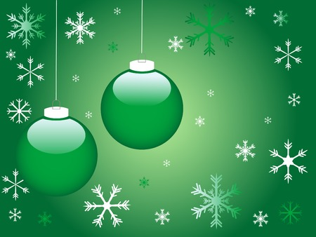 Green christmas background with snowflakes Vector