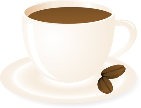 Cup of caffee and coffee beans Vector