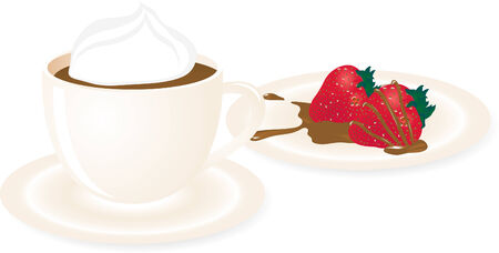 whites: Hot chocolate with red strawberries