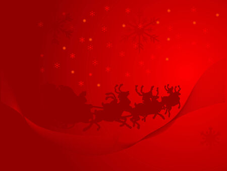 Red christmas background with Santa in sledge Vector