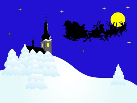 Christmas night with santa in sledge Vector