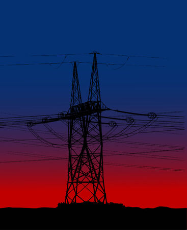 powerlines: Electric main in the sunset