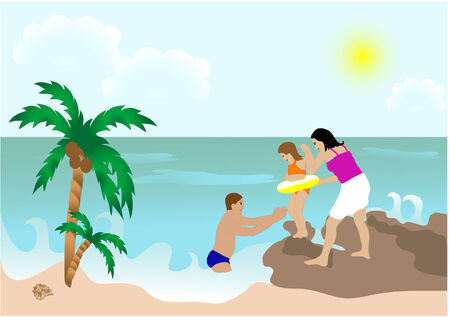 Family with daughter on the beach Vector