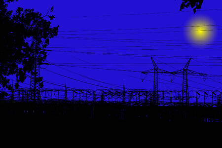 powerlines: Electric main in the night