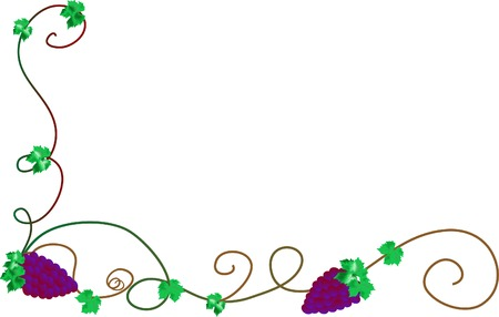 Frame with bunch of grapes Vector