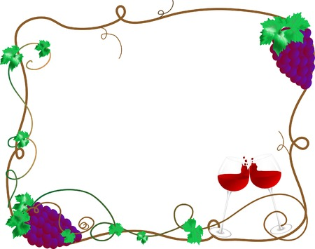 Wine and bunch of grapes Stock Vector - 3608271