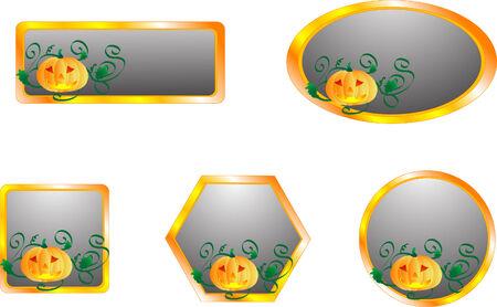 Grey metal buttons with pumpkins Vector
