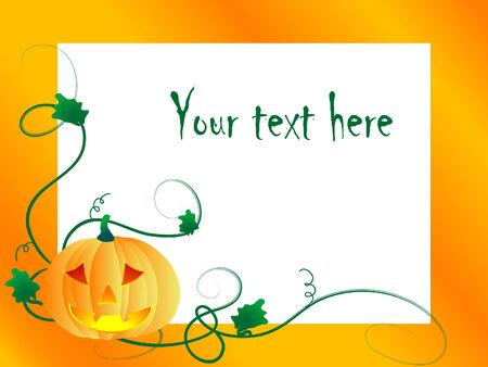 Orange frame with the pumpkin Vector