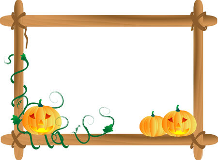 Three pumpkins in wooden frame Vector
