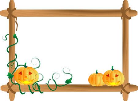 Three pumpkins in wooden frame