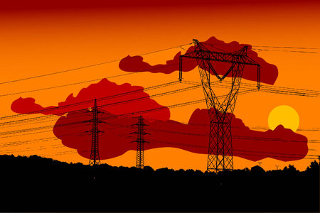 telephone pole: Electric main in the sunset - vector