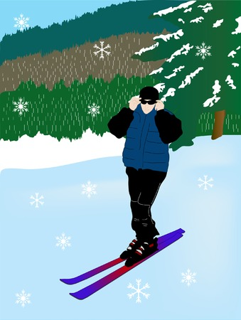 Vector illustration of the skier Stock Vector - 3678542