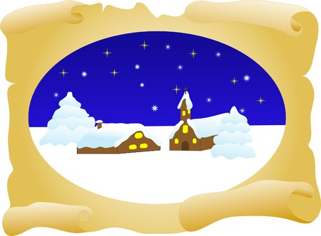 Old parchment with winter landscape- vector illustration Vector
