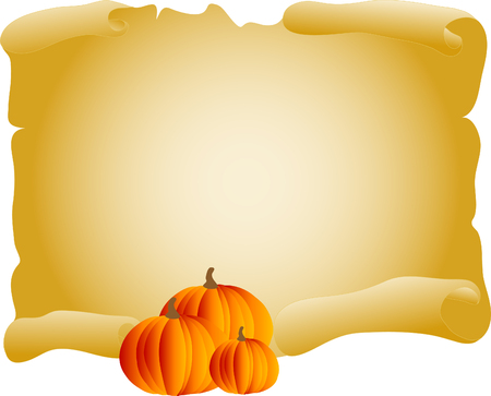 charred: Old parchment with pumpkins- vector illustration
