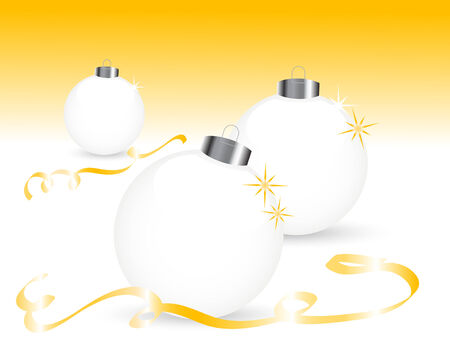 White christmas balls with ribbons Vector