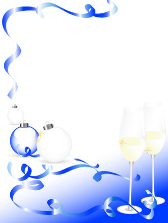 candlestand: New year background with glasses and balls Illustration