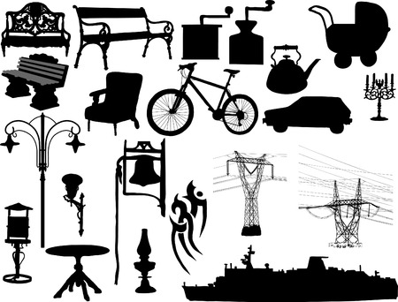 Silhouettes of the different objects Vector