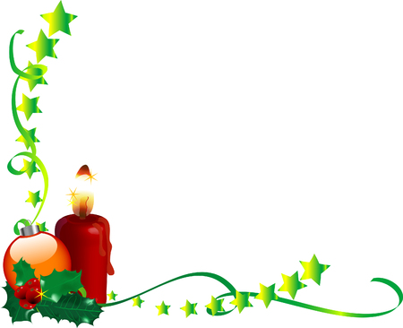 candlestand: Christmas frame with holly and ribbons Illustration